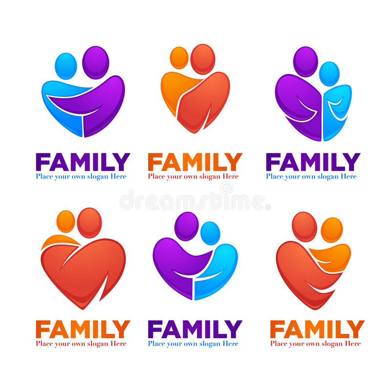 Happy family, people, man, woman, kids and happiness. Vector set of logo, emblems and symbols vector illustration