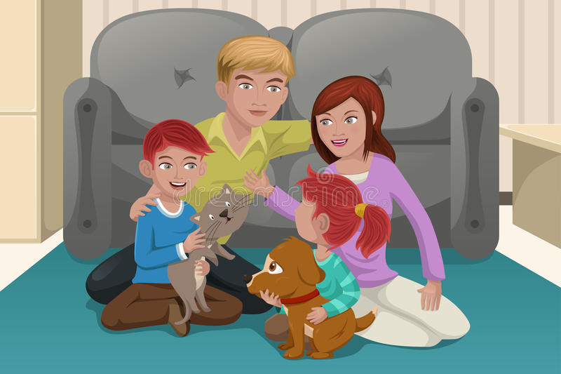 Download Happy family with pets stock vector. Image of people - 32384233