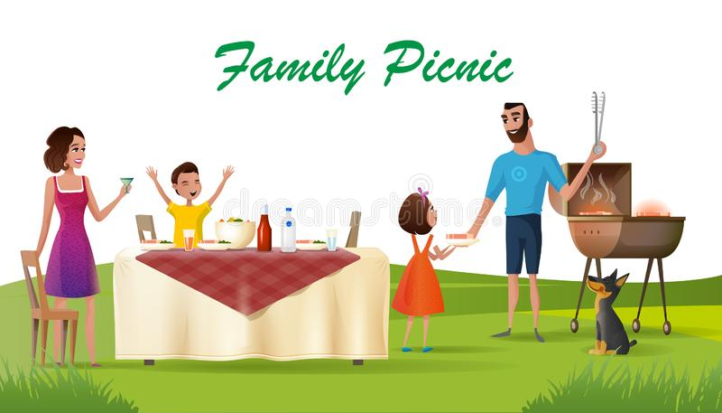 Happy Family Picnic on Green Loan Cartoon Vector. Family Picnic Cartoon Vector Concept or Banner with Happy Parents and Children Having Outdoor Dinner at Holiday vector illustration