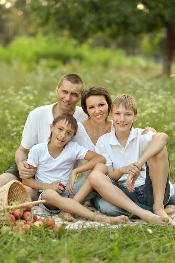 Happy Family on picnic. Happy Family having picnic on green summer grass stock image