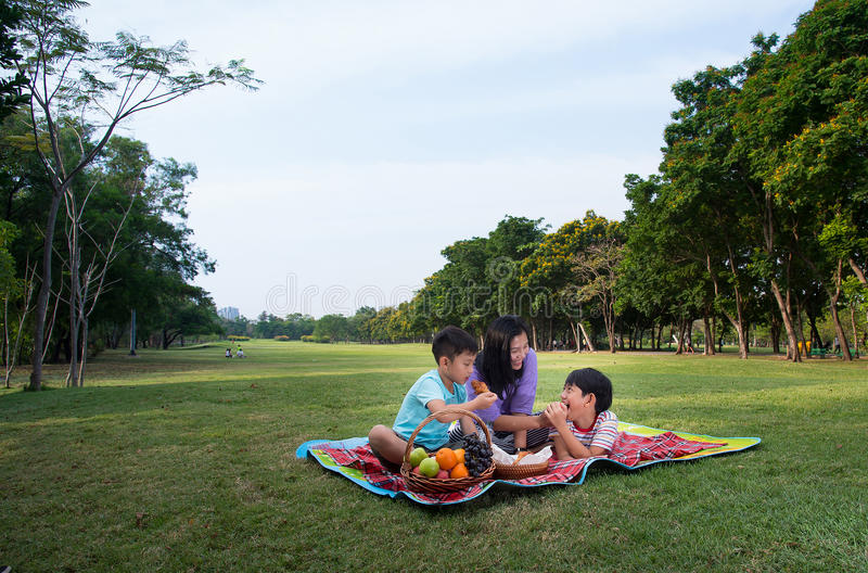 Happy family picnic. Mother son boy grass park food fruit vacation outdoor kid royalty free stock photos