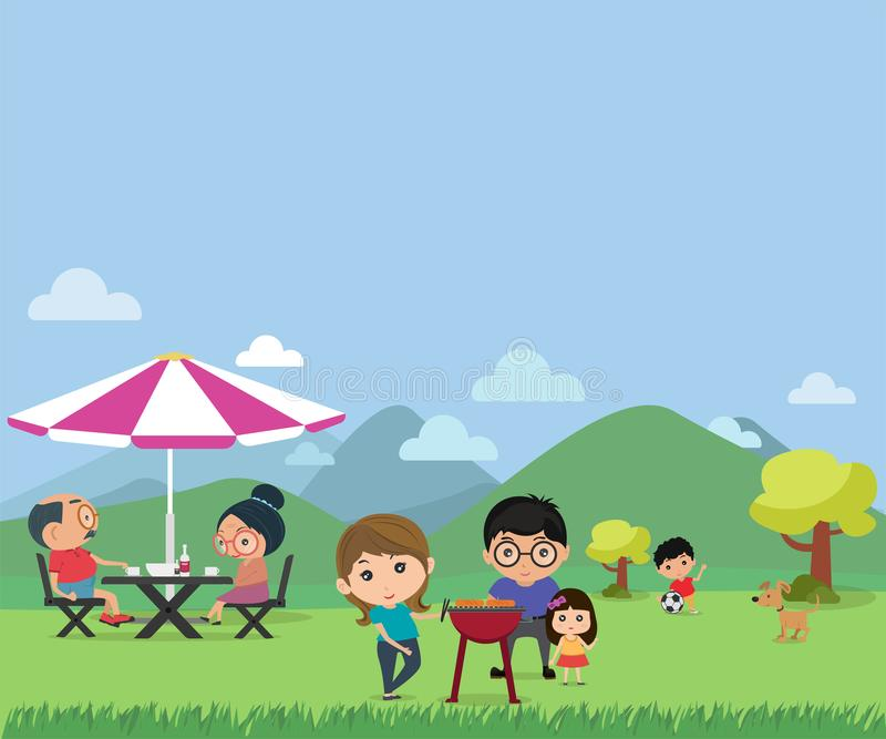 Happy family picnic in outdoor modern flat style vector illustra. Tion vector illustration