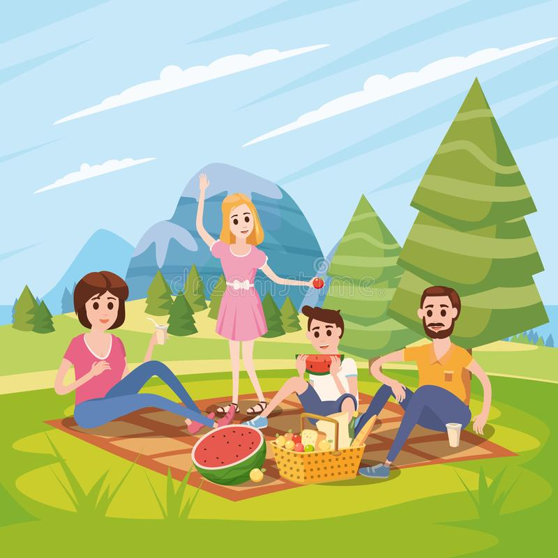 Happy family on a picnic, park, outdoor. Dad, mom, son and daughter are resting and eat in nature, fotest. Vector. Happy family on a picnic. Dad, mom, son and stock illustration