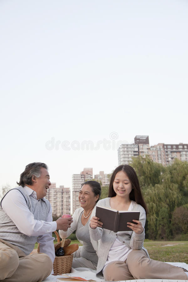 Happy Family picnic in the park, portrait royalty free stock photography