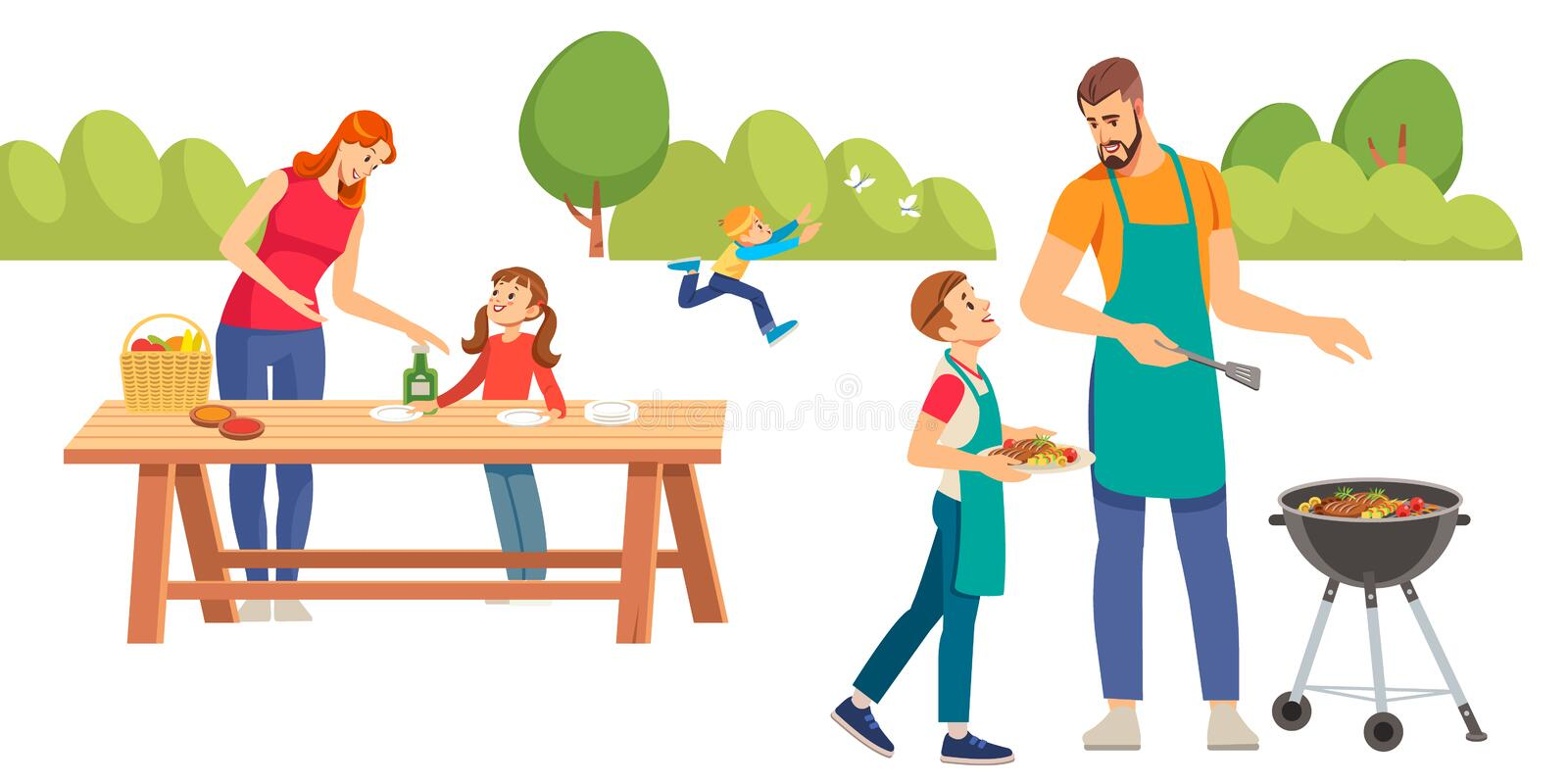 Happy family at a picnic is preparing a barbecue grill outdoors. Family picnic. Bbq party. Food and barbeque summer and royalty free stock photo