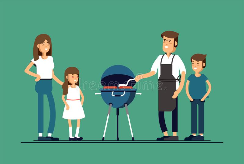 Happy family at a picnic is preparing a barbecue grill outdoors. Vector illustration in a flat style royalty free illustration