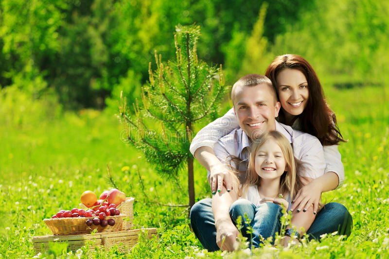 Happy family. At picnic on the summer meadow royalty free stock photo
