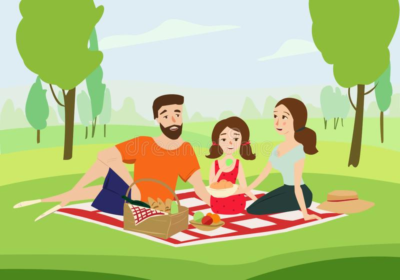 Happy family on a picnic vector illustration royalty free stock image