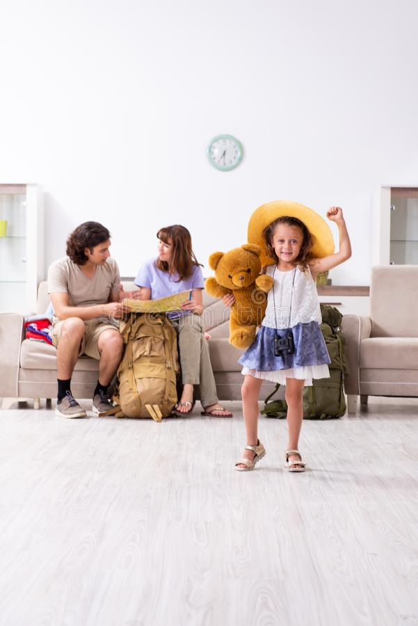 Happy family planning vacation trip. The happy family planning vacation trip royalty free stock photo