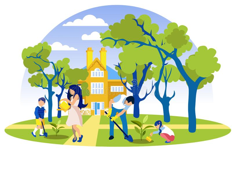 Family Planting Trees in Front of Beautiful House. Happy Family Planting and Watering Trees in Front of Beautiful House. Mother, Father, Daughter and Son Caring stock illustration