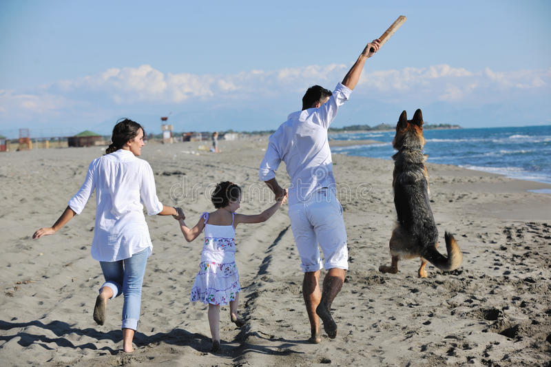Happy Family Playing With Dog On Beach Royalty Free Stock Photos