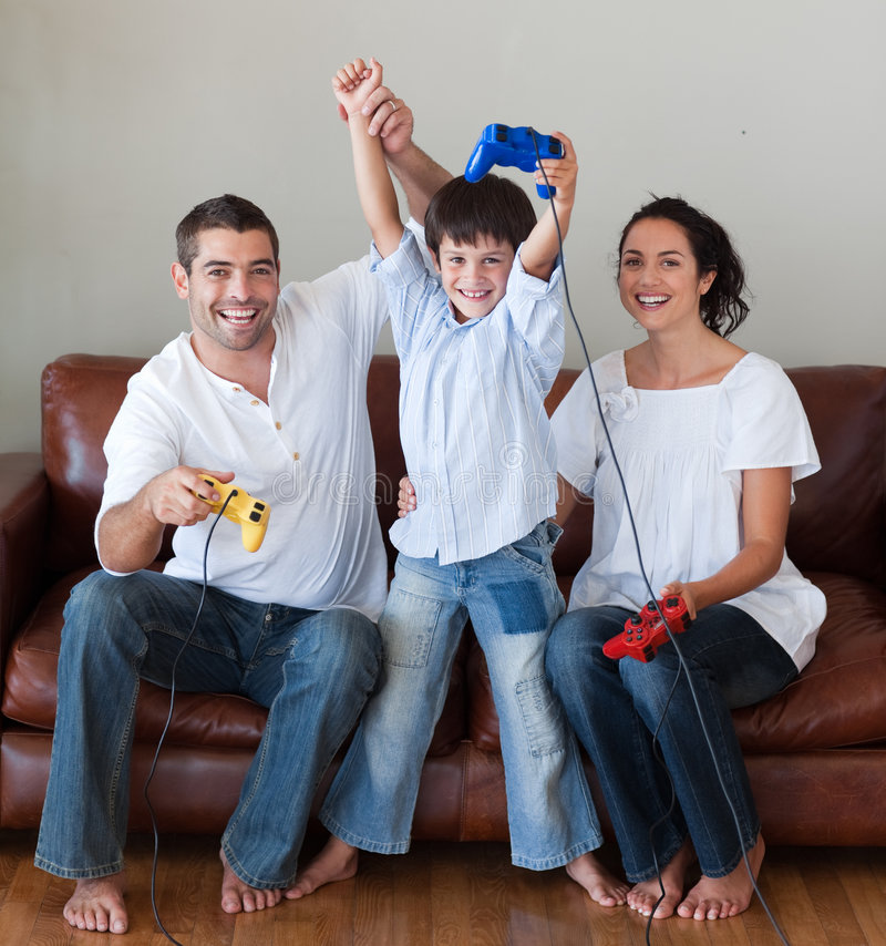 Download Happy Family Playing Video Games Stock Image - Image: 9281633