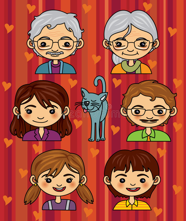 Download Happy Family Portrait stock vector. Image of mummy, generation - 14022629