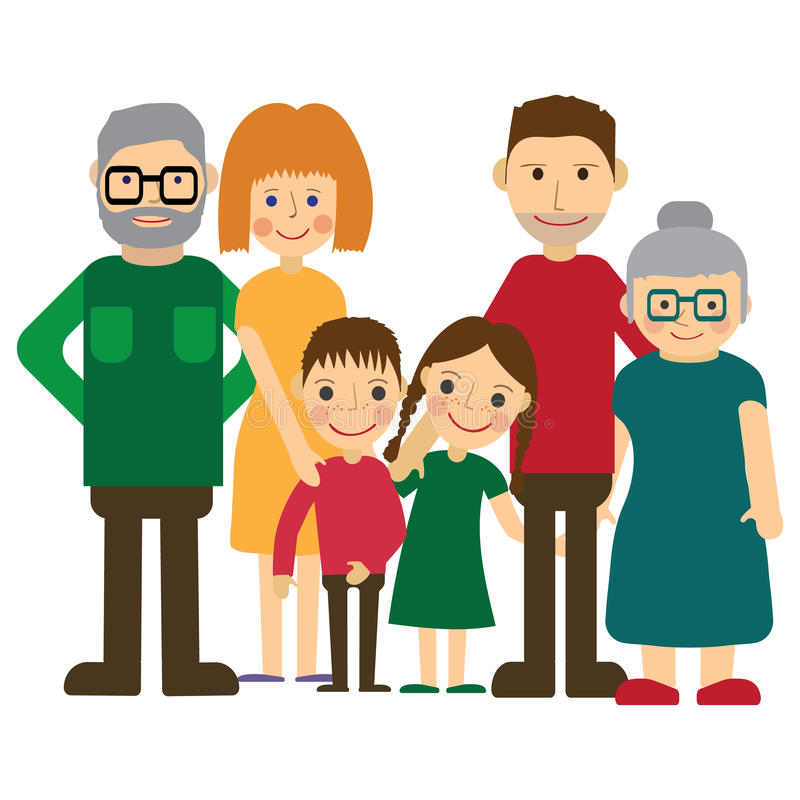 Happy family portrait. Father and mother, son and daughter, grandparents alltogether. Vector illustration. Happy family portrait. Father and mother, son and stock illustration