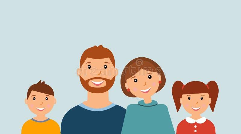 Happy family portrait royalty free illustration