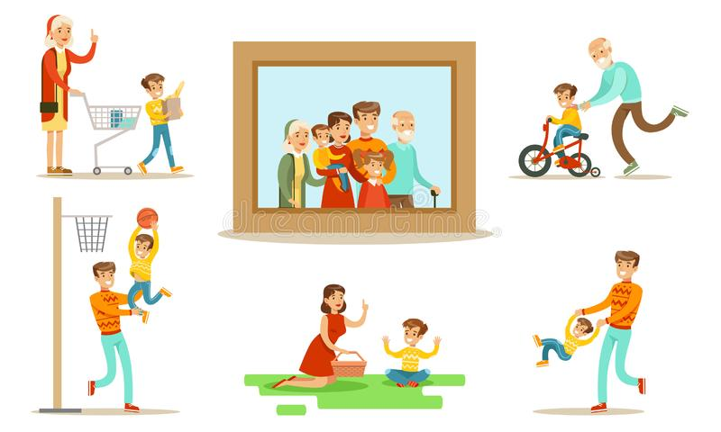 Happy Family Portrait, Grandparents, Parents and Children Having Good Time Together Set Flat Vector Illustration. On White Background stock illustration