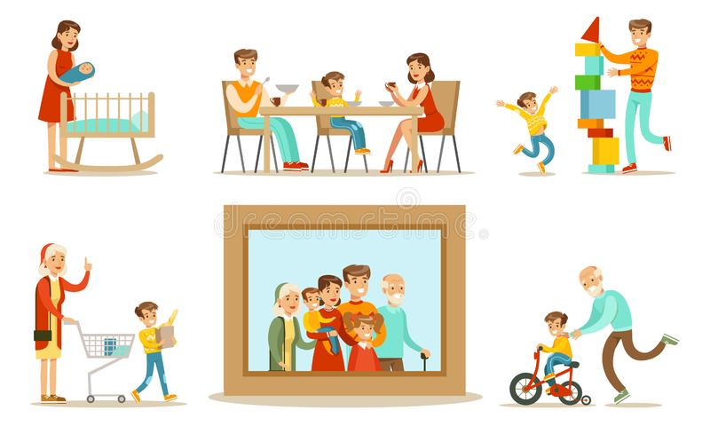 Happy Family Portrait, Grandparents, Parents and Children Having Good Time Together Set Vector Illustration. On White Background vector illustration