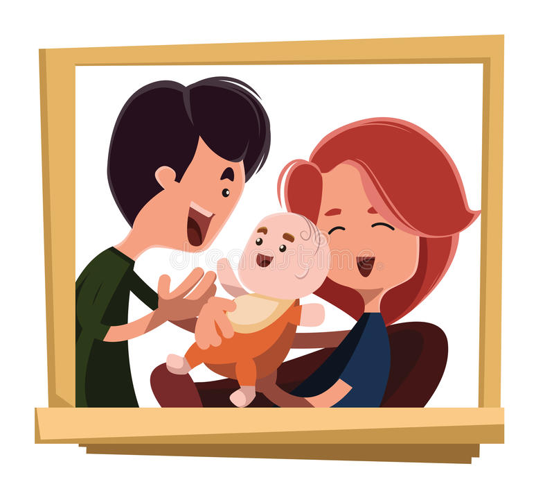 Happy family portrait illustration cartoon character.  stock illustration