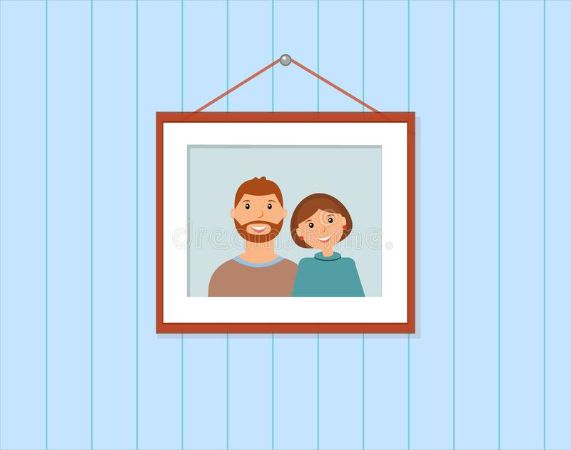 Happy family portrait: loving couple on the blue background royalty free illustration
