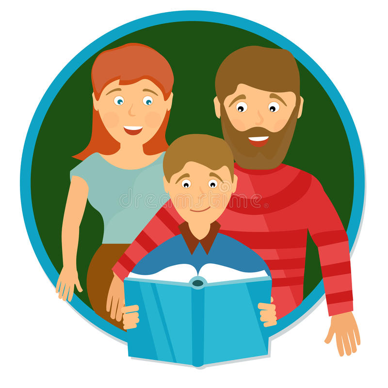 Happy family portrait. Schoolboy reading book vector illustration
