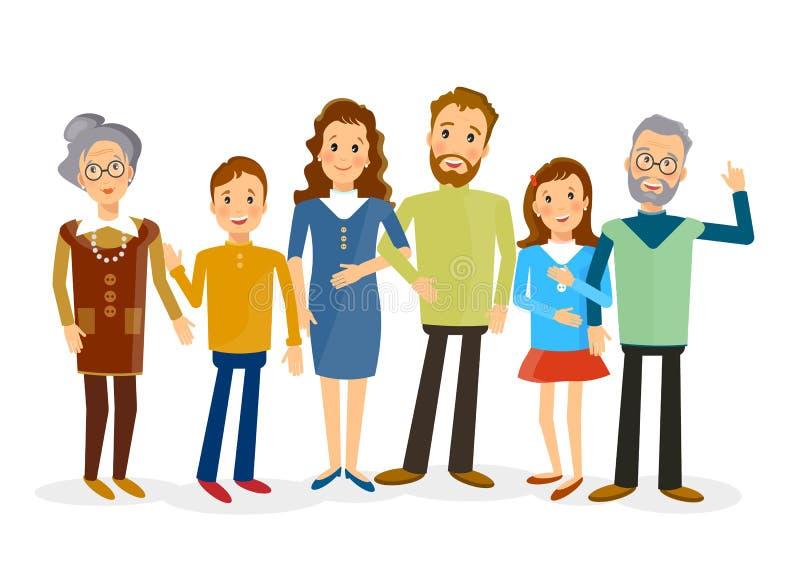 Happy family portrait vector royalty free stock photography