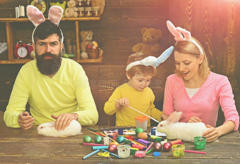 Happy family preparing for Easter. Easter Cards. royalty free stock images