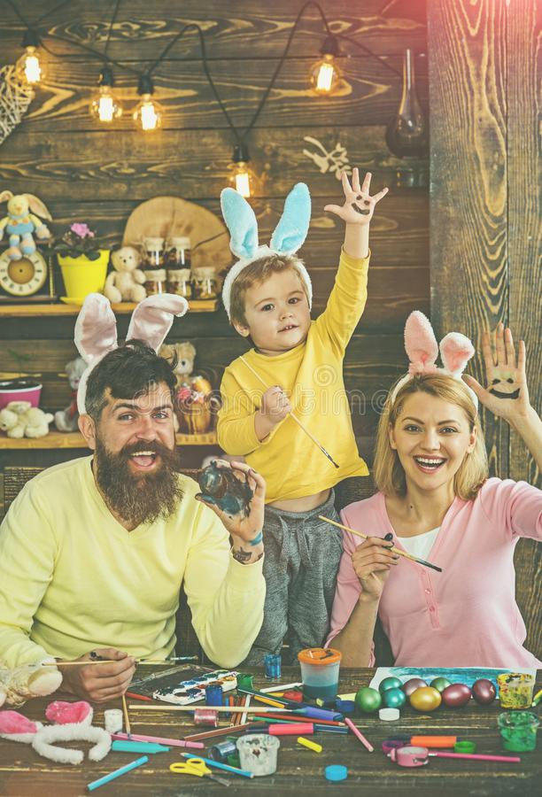 Happy family preparing for Easter. stock photography