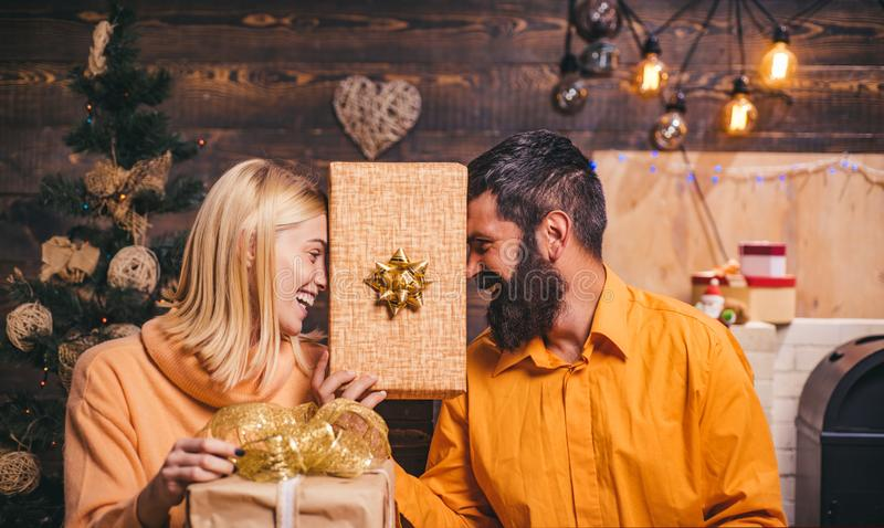 Happy family preparing to new year. Christmas holiday party. Gift emotions. Christmas wishes come true if you believe. Christmas is the holiday that brings stock photo