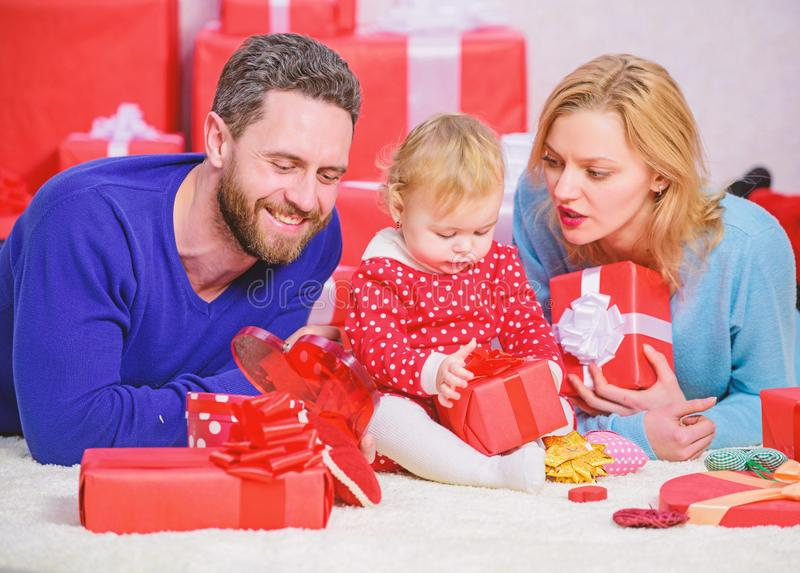 Happy family with present box. Valentines day. I love you so much. Shopping online. Boxing day. Love and trust in family. Bearded man and woman with little stock photo