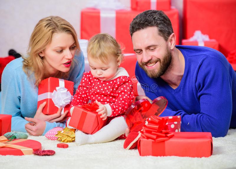 Happy family with present box. Valentines day. I love you so much. Shopping online. Boxing day. Love and trust in family. Bearded man and woman with little royalty free stock photos