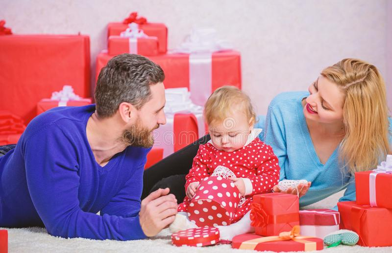 Happy family with present box. Valentines day. Red boxes. Shopping. Boxing day. Love and trust in family. Bearded man royalty free stock images