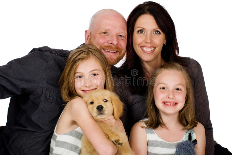 Happy Family with a puppy royalty free stock photography