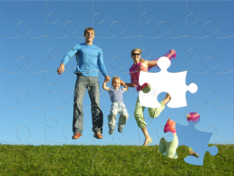 Happy family puzzle. Fly happy family puzzle