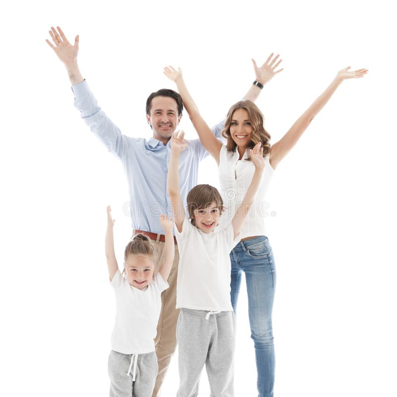 Happy family with raised hands stock photos
