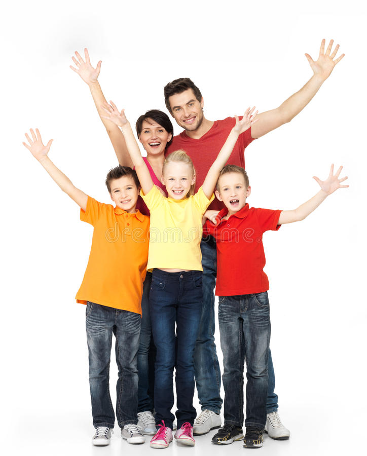 Happy family with raised hands up