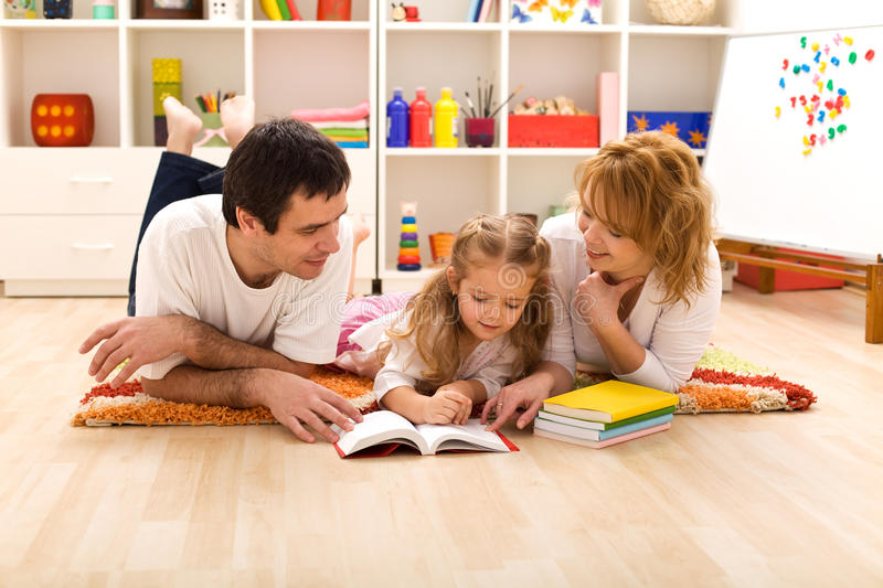 Download Happy Family Reading In The Kids Room Stock Image - Image: 13333203