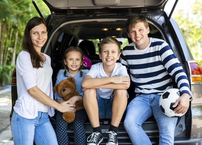 Happy family ready for a road trip royalty free stock photos