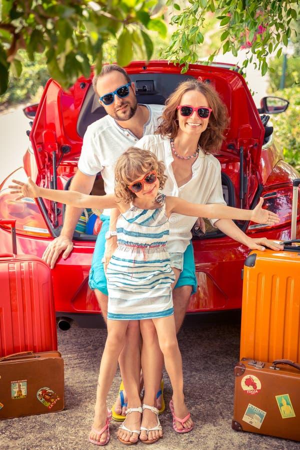 Happy family ready to trip stock photos