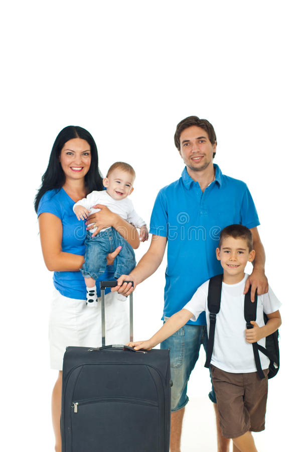 Happy family ready for travel. Happy family of four members ready for travel isolated on white background stock photos