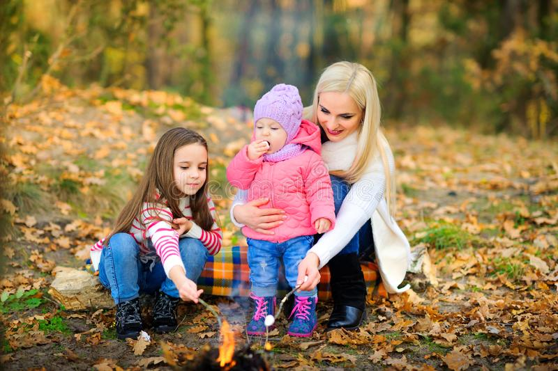 Happy family is resting outdoors royalty free stock image