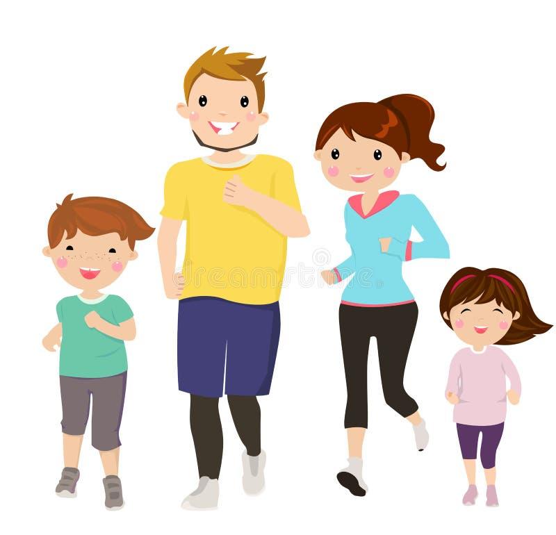 Happy family running royalty free illustration