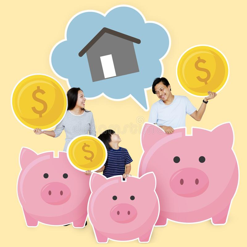 Happy family saving for their future house royalty free stock photography