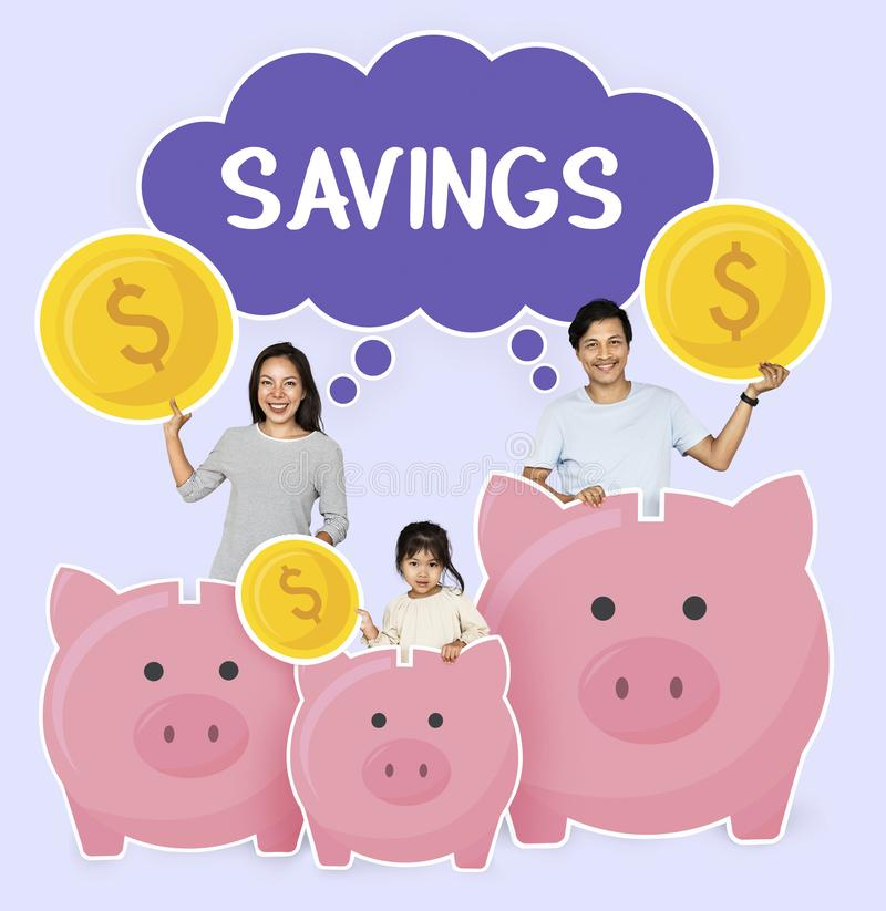 Happy family with savings for their future stock photos