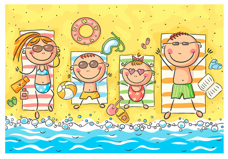 Happy family at the seaside vector illustration