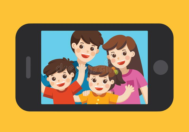 Happy family selfie photo on smartphone display. Selfie photo with Mother, father, son, daughter. Vector illustration stock illustration