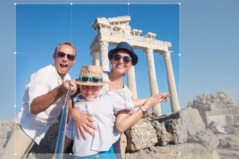 Happy family selfie photo on summer vacation. Happy family take selfie photo on summer vacation stock photos