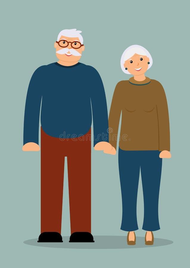 Happy family seniors: smiling elderly man and woman royalty free illustration
