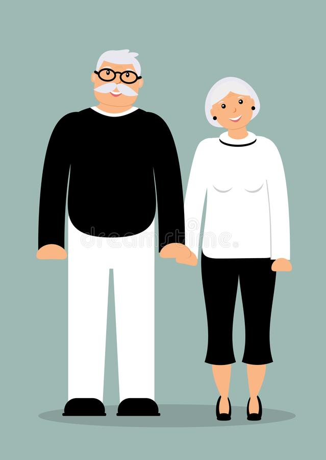 Happy family seniors: smiling elderly man and woman. Happy family seniors: smiling smart elderly man and woman in full growth on the blue background. Vector stock illustration