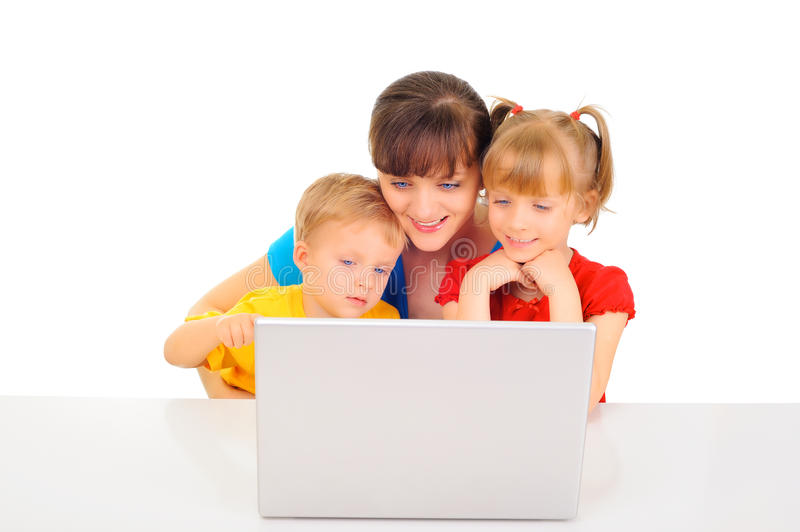 Happy family shopping online. With laptop stock photography