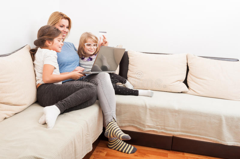 Happy family shopping online concept royalty free stock photos